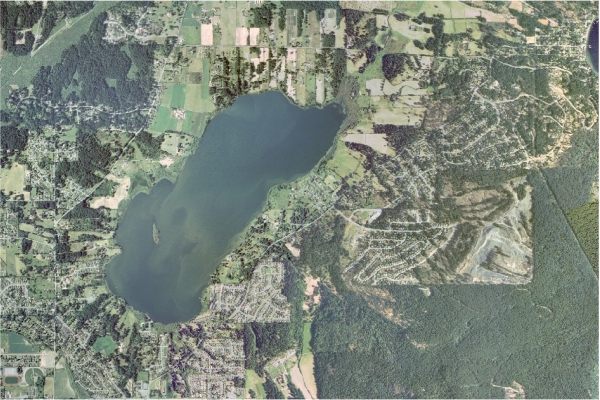 Arial photo of Quamichan Lake and surrounding area